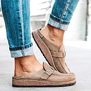 Womens Soft Footbed Cork Mules, Comfy Suede Clogs Sandals, Plush Lining Anti Slip Casual Shoes Slides Slippers,A,35