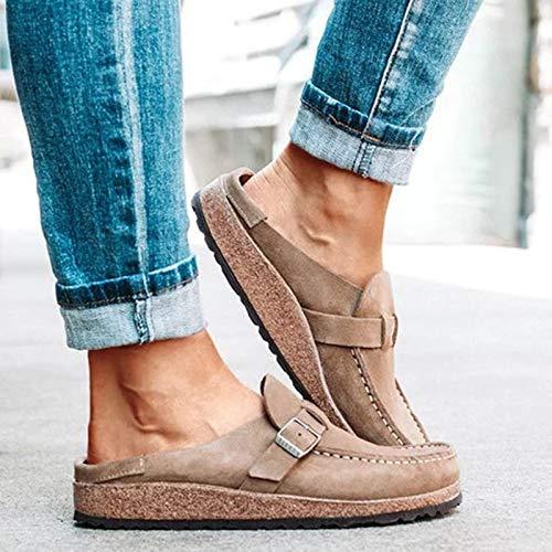 XIALIUXIA Mules Corcho con Plantilla Suave para Mujer, Sandalias Cómodas Zuecos Ante, Forro Felpa Antideslizante Zapatos Casuales Deslizadores Zapatillas,A,42