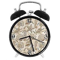 Vintage Inspired Monochrome Seashell Pattern Ocean Elements Wildlife Hand Drawn, Metal Double Bell Alarm Clock, Family Bedroom Travel School Battery Operation Light (Black) 3.8in10.2cm