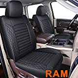 LUCKYMAN CLUB Ram 1500 2500 3500 Front Seat Covers Fit Regular Crew Quad Cab Limited Longhorn Rebel Laramie Big Horn Tradesman PowerWagon, with Waterproof Faux Leather (01-Front, Black)