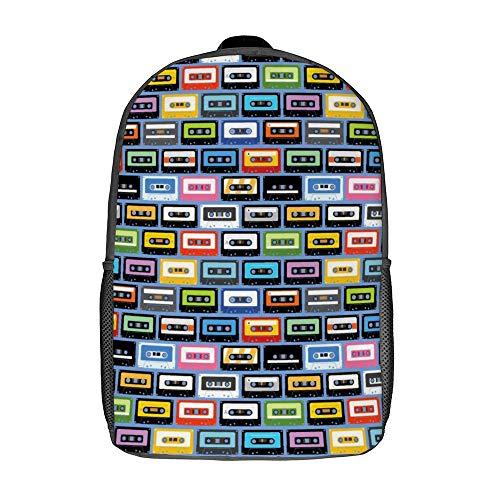 Mochila de viaje para portátil ligera para mujer, mochila de viaje multiusos para viajes de fin de semana, Casetes coloridos (Blanco) - TB-ZXY-0qnf89llhc0x-1