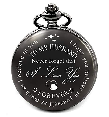 Husband Gifts from Wife Birthday Fathers Day Anniversary Wedding Day Christmas, Valentines Day Gifts for Him, Engraved Pocket Watch (to My Husband)
