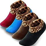 4 Pairs Indoor Non-slip Thermal Slipper Socks Women Leopard Floor...