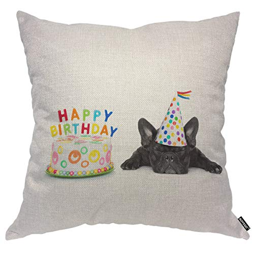 AOYEGO French Bulldog Throw Pillow Cover Cute Happy Puppy Birthday Party Cake Candles Hat Closed Eyes Pillow Case 16x16 Inch Decorative Cotton Linen Square Cushion for Home Couch Bed
