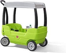Step2 Canopy Wagon | Kids Wagon with 2 Seats and Storage | Green