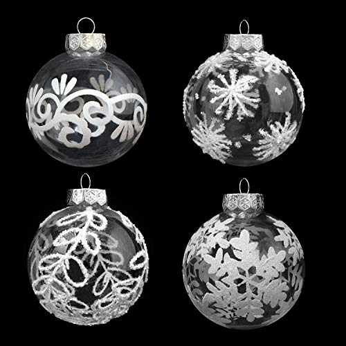 "Joiedomi 12 Pcs 3.15"" White & Clear Christmas Ball Ornaments Fancy Ornaments Set for Christmas Holiday Indoor and Outdoor Christmas Decorations"