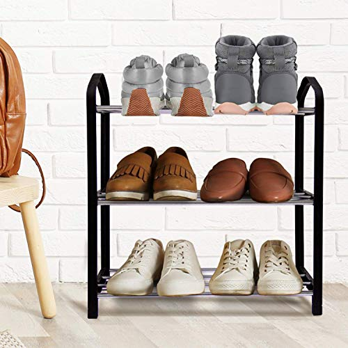 JERRY & MAGGIE - 3 Tier Steel Pipe Shoe Rack Simple Fashion with Plastic Frame Support Shoe Storage Shelves Free Standing Flat Racks Classic Style - Lightweight Easy-Assembly Sturdy