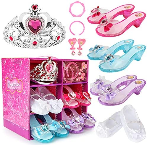 Cocojeci Princess Dress Up Shoes Set Girls Role Play Shoes Pretend Jewelry Toys Set Gift Set product image