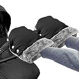 Handwärmer Kinderwagen Handschuhe Handmuff mit Warme Fleece Wasserdicht Winddicht Stroller Handmuff Universalgröße für Kinderwagen, Buggy, Radanhänger (schwarz)