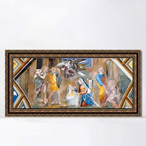 "INVIN ART Framed Canvas Art Giclee Print Series#047 by Raphael/Raffaello Sanzio Wall Art Living Room Home Office Decorations(Vintage Embossed Gold Frame,12""x36"")"