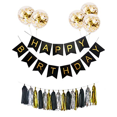 Jinxuny 7 stks Verjaardag Party Decoraties Ballonnen Brief Banner Confetti Hangende ballonnen kwastjes Garland Latex Kit voor Meisje Vrouwen Verjaardag Gelukkig Feestbenodigdheden Zwart
