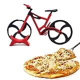 Cortador de pizza con Forma de Bicicleta Ruedas Profesional,ø 7,6 cm,Acero Inoxidable Doble,Hoja Afilada,Recubrimiento Antiadherente,con Soporte,para Repostería,Pastel,Gofre,Pan y Masa