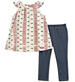 Lucky Brand Baby Girls' Infant Printed Tunic Two-Piece Jegging Set, Print/Blue, 12M