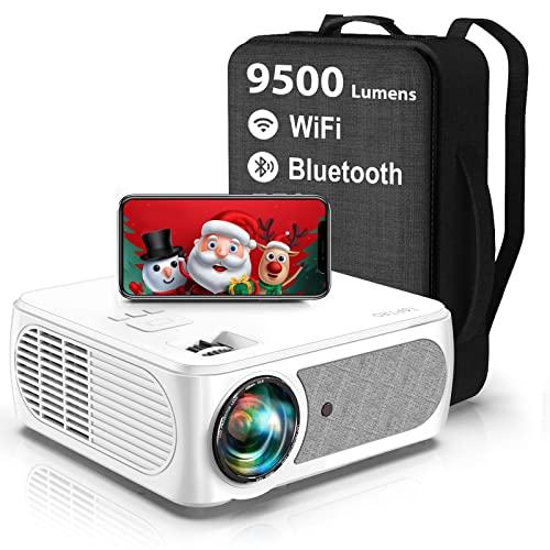 Proyector WiFi Bluetooth, 9500 Lúmenes TOPTRO Proyector 4K Soporte, Proyector 5G WiFi Full HD 1080P Nativo, Soporte Corrección de 4 Puntos y 4 Lados, Zoom, Proyector Portatil para Movil TV Stick PS5
