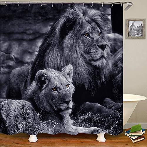 Shocur Löwen-Duschvorhang, männliche & weibliche Löwen in tropischen Wäldern, 182,9 x 182,9 cm, cooler Badvorhang aus Polyesterstoff, Badezimmer-Deko-Set mit 12 Haken
