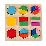 dailymall 3 Juegos de Rompecabezas de Tangram, Juguetes Educativos para Niños, Coloridos Rompecabezas de Madera de Geometría de Entrenamiento Cerebral de Madera