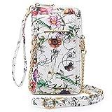 Cellphone Wallet Purse Phone Pouch Wristlet Clutch Crossbody Shoulder Bag - 12 Slots (White Flower New)