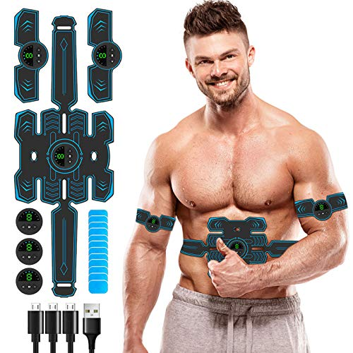 Innocareer Abs Stimulator, 2021 EMS Muscle Stimulator Belt Abdominal Training Device for Building Abdomen/Arms/Shoulder/Back/Leg/Hip Muscles, Ultimate Muscle Trainer for Women & Men at Home Office Gym