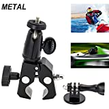 EXSHOW Soporte for GoPro, Soporte Camera para Moto Bike Manillar, Universal for GoPro Hero 7 6 5 4 3+ 3 2 and Other Action Cameras (1/4-20 Rosca + Antideslizante Clamp)