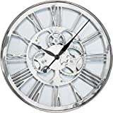 Kare Design Wanduhr Gear Ø60cm, große, moderne XXL Wanduhren mit römischen Ziffern, silber (H/B/T) 60x60x6