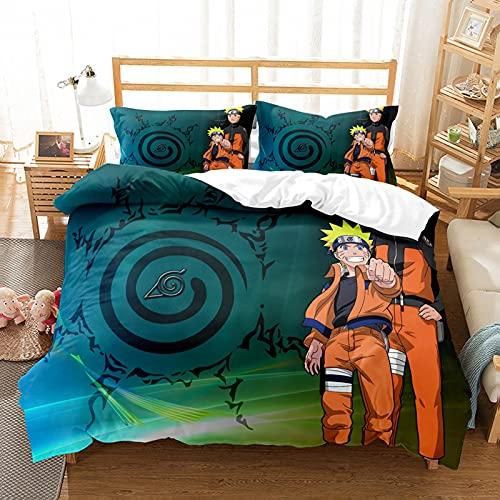 LXTOPN Naruto - Juego de cama infantil de 3 piezas de microfibra con cierre de cremallera, para niños y niños (E,140 x 210)