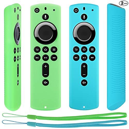 Pinowu Schutzhülle Kompatibel mit Fire TV Stick 4K Ultra HD mit der Neuen Alexa-Sprachfernbedienung (2.Gen), rutschfeste Stoßfeste Silikon Cover mit Trageschlaufe (2 Stück: Türkis und Grün)