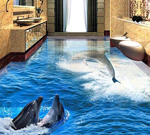 Benutzerdefinierte Foto Boden 3D Wallpaper Moderne Kunst 3D Dolphin Spielen Bodenfliesen Bodenmalerei Selbstklebende PVC-Tapete 140x100cm