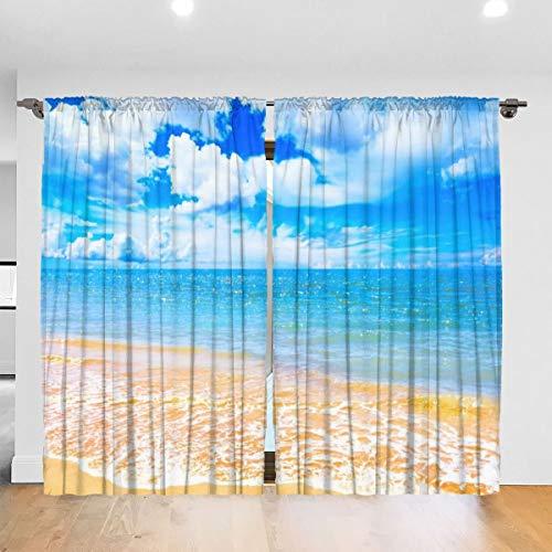 N/A Horizon Sky Wave Blue Sea Tropical Pastel Beach Highres verduisterende plooi kleuren verduisterende plooi gordijnen thermische geïsoleerde lawaai verminderen gordijn gordijnen kamer donker ogen gordijnen