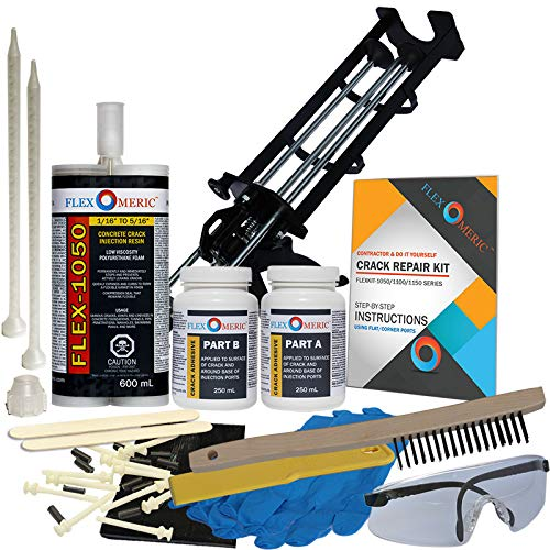 Concrete Foundation Drill Crack Repair Kit - Low Viscosity Polyurethane - FLEXKIT-1050D-10