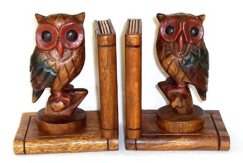 2 Buchstützen mit Eulen Akazienholz Holzeule Eule aus Holz Handarbeit