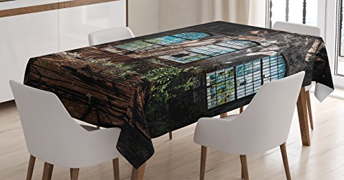 """Ambesonne Industrial Tablecloth, Industrial Interior with Tall Old Windows Ruins Hallway Station Shadow, Dining Room Kitchen Rectangular Table Cover, 60"""" X 84"""", Brown Blue Green"""