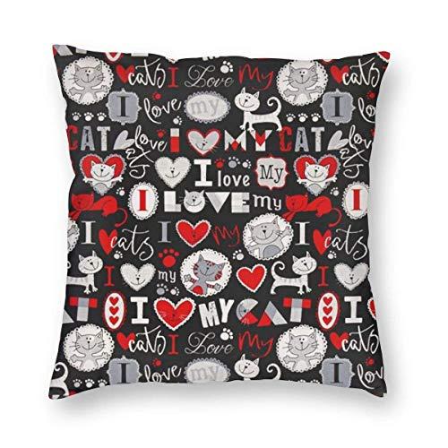 YHKC I Love My Cat Funda de Almohada Gris para decoración del hogar, Ligera, Suave, de Felpa, Cuadrada, Decorativa, Funda de cojín, Funda de cojín de 18 x 18 Pulgadas, embutidora, Lavable a máquina