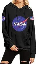 Phoenix_us Women Fall Winter Warm Fleece NASA Letter Print Hoodie Sweatshirt with Pocket