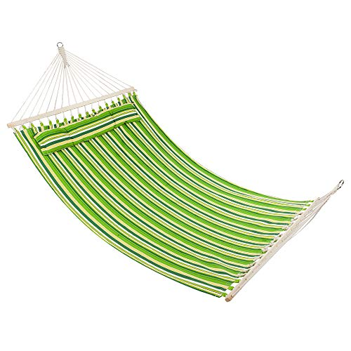 N7 Double Hammock Swing with Tree Straps, Folding Curved-Bar Bamboo Hammock with Carrying Bag, Portable 2 Person Hammocks for Patio, Backyard, Camping, Indoor Outdoor Use, Christmas Ideal Gift Green