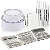 BUCLA 350PCS Silver Plastic Plates with Disposable Plastic Silverware&Hand Napkins, Silver...