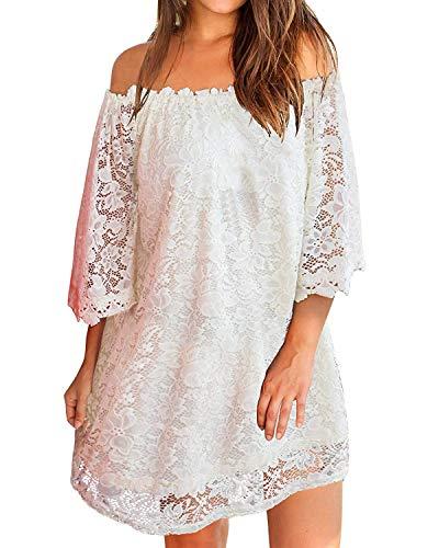 ZANZEA Damen Schulterfrei Kleid mit Spitze 3/4 Arm Transparent Abend Party Oberteil Mini Kleider Weiß EU 46/Etikettgröße XL