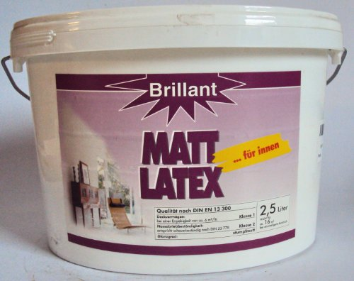 Brillant Matt Latex für Innen, Latexfarbe/ 2,5 Liter