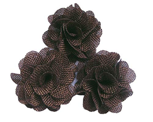 YYCRAFT 15pcs Burlap Flower Roses,3D Fabric Flowers for Headbands Hair Accessory DIY Crafts/Wedding Party Decorations/Scrapbooking Embellishments(2.25 Inch,Brown)