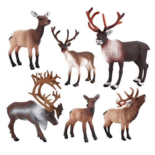 NUOBESTY Deer Figurines Toys Deer Figures Cake Toppers Christmas Standing Reindeer Elks Figures Model Xmas Table Top Deer Ornaments, 6 Pieces