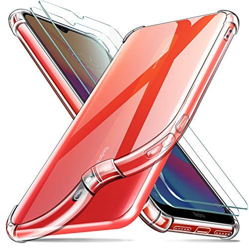 Leathlux Funda Xiaomi Redmi 8A + [2 Pack] Cristal Templado Protector de Pantalla, Ultra Fina Silicona Transparente TPU Carcasa Protector Airbag Anti-Choque Anti-arañazos Cover para Xiaomi Redm