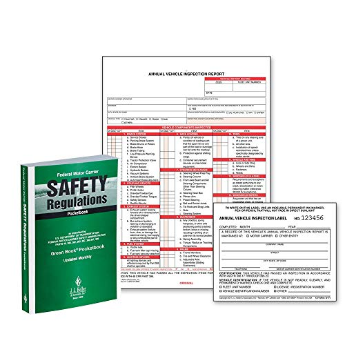 Federal Motor Carrier Safety Regulations Pocketbook + Annual Vehicle Inspection Report (Shrinkwrap Snap-Out Format, 3-Ply Carbonless) with 2-Ply Vinyl Laminate Label 25-pk. - J. J. Keller & Associates