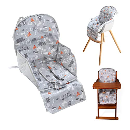 High Chair Pad,high Chair Cushion,seat Cushion Film Breathable Pad,comfortable Seat Belt Design,cute Pattern,soft and Comfortable ,baby Sits More Comfortable(gray Animal Pattern)