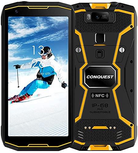 CONQUEST S20 Móvil Resistente, 5G Visión Nocturna Desbloqueado Teléfono Android IP68 Impermeable 48MP Cuatro Cámaras 8GB RAM 256GB ROM 6.3 Pulgadas