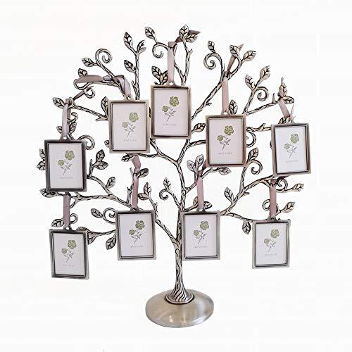 LASODY Familienbaum-Bilderrahmen für 9 Bilder, Fotorahmen, Collagen, Schreibtischständer, Ornamente