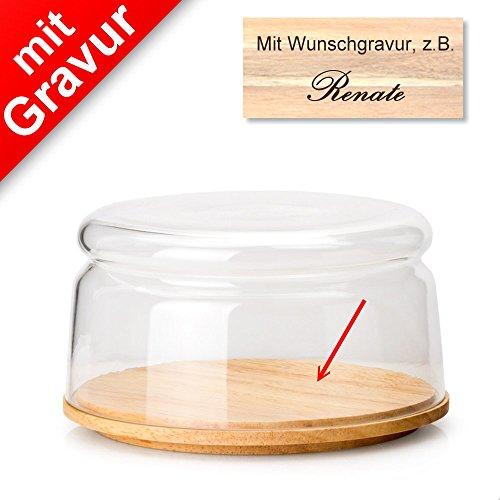 Continenta Käseglocke/Schüssel, 2-TLG. Ø 16 x 9 cm MIT Gravur (z.B. Namen) - Käseglocke/Käseaufbewahrung
