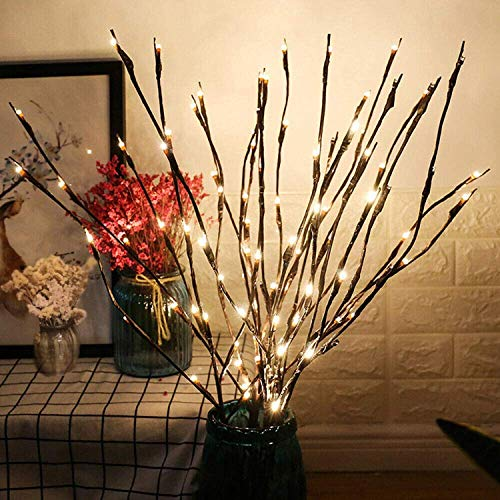 G-MORE Decorative Twig Lights LED Branch Lights Flexible Branch Decoration Light Battery Operated for Birthday Wedding Fairy Lights Bedroom,Warm White 30 Inches (2 Pack)