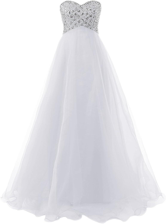 Sweet Bridal Women's Beaded Strapless Sweetheart Prom Dresses Ball Gowns