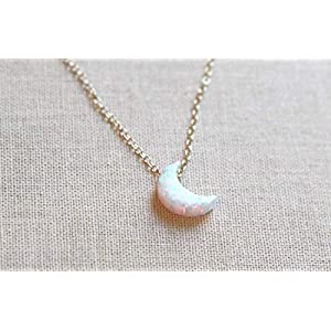 Dainty Crescent Moon Opal Necklace, Gold Chain