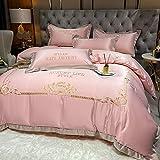 juego de fundas de edredón y de almohada de microfibra-Lavado de seda bordado ropa de cama cuatro conjuntos para el verano de la familia de verano Estudiante Dormitorio regalo-B_Cama de 2.0m (4 pieza