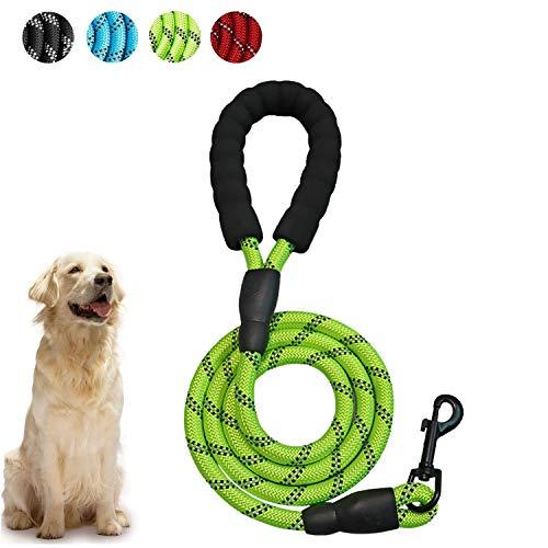 WELLXUNK Hunde Leine Seil, 5 FT Hunde Schleppleine, Hunde Reflektierende Leine, Ruckdämpfer mit Bequemen Gepolsterten Griff, Trainingsleine für Sicherheit Nachts, eignet für Alle Größe Hunde(Grün)
